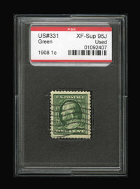 #331, 1908, 1c Green, XF-S 95J PSE. (Used)