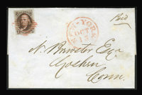 #1, 1847, 5c Red Brown. (Used)