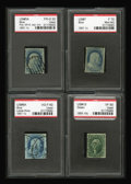 Stamps, 1851-55 First Issue Selection.... (Total: 4 Slab)