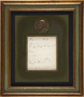 """Autographs:Authors, Camille Saint-Saens Two Musical Quotes Signed. One page, 4.5"""" x 5"""",sight size, n.d., n.p. The two bars are titled, Valse ..."""