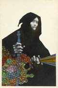 Pulp, Pulp-like, Digests, and Paperback Art, LEO and DIANE DILLON (American b. 1933). Traveler in Black,paperback cover, 1971. Mixed-media on paper. 20 x 12.5 in.. ...