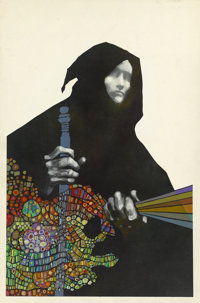 LEO and DIANE DILLON (American b. 1933) Traveler in Black, paperback cover, 1971 Mixed-media on pape