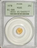 California Fractional Gold, 1870 25C Liberty Round 25 Cents, BG-808, R.3, MS65 PCGS....