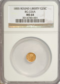California Fractional Gold, 1855 25C Liberty Round 25 Cents, BG-226A, R.5, MS64 NGC....