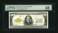 Small Size:Gold Certificates, Fr. 2407 $500 1928 Gold Certificate. PMG Choice About Unc 58.. ...