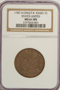 Colonials, 1787 1C Fugio Cent, STATES UNITED, 4 Cinquefoils, Pointed Rays MS61 Brown NGC....