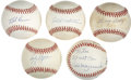 Autographs:Baseballs, Hall Of Fame Single Signed Baseball Lot of 5....