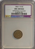 Seated Half Dimes, 1864 H10C --Improperly Cleaned--NCS. Unc Details....