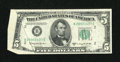 Error Notes:Foldovers, Fr. 1965-B $5 1950D Federal Reserve Note. Very Fine-ExtremelyFine.. ...
