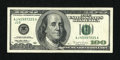Error Notes:Skewed Reverse Printing, Fr. 2175-J $100 1996 Federal Reserve Note. Extremely Fine-AboutUncirculated.. ...