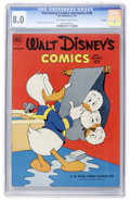 Golden Age (1938-1955):Cartoon Character, Walt Disney's Comics and Stories #146 File Copy (Dell, 1952) CGC VF8.0 Off-white to white pages....