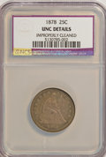 Seated Quarters: , 1878 25C --Improperly Cleaned--NCS. Unc Details. NGC Census: (0/61). PCGS Population (2/78). Mintage: 2,260,800. Numismedia ...