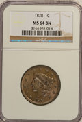 1838 1C MS64 Brown NGC. NGC Census: (29/28). PCGS Population (80/43). Mintage: 6,370,200. Numismedia Wsl. Price for NGC/...