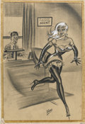 Pin-up and Glamour Art, BILL WARD (American 1919 - 1998). Humorama men's magazinecartoon, 1958. Mixed-media on paper. 23 x 15 in.. Signedlower...