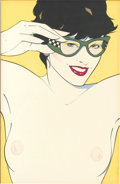 Pin-up and Glamour Art, PATRICK NAGEL (American 1945 - 1984). Playboy illustration,c.1976-85. Acrylic on board. 14 x 9 in.. Signed lower right...