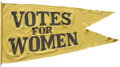 """Political:Miscellaneous Political, Woman's Suffrage: """"Votes for Women"""" Double-Sided Swallowtail Banner...."""