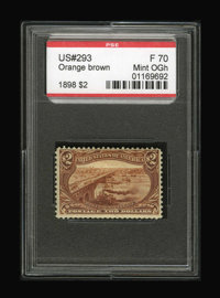 #293, 1898, $2 Orange Brown, F 70 PSE. (Original Gum - Hinged)