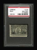Stamps, #245, 1893, $5 Black, G 30 PSE. (Original Gum - Hinged).... (Total: 1 Slab)
