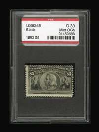 #245, 1893, $5 Black, G 30 PSE. (Original Gum - Hinged)