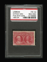 #244, 1893, $4 Crimson Lake, FR 10 PSE. (Original Gum - Hinged)