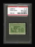 Stamps, #243, 1893, $3 Yellow Green, F 70 PSE. (Original Gum - Previously Hinged).... (Total: 1 Slab)