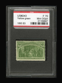 #243, 1893, $3 Yellow Green, F 70 PSE. (Original Gum - Previously Hinged)