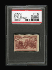 #242, 1893, $2 Brown Red, FR 10 PSE. (Original Gum - Hinged)