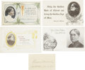 Political:Miscellaneous Political, Woman's Suffrage: Frances Willard Lot with Calling Card Signed....(Total: 4 Items)