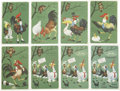 Political:Miscellaneous Political, Woman's Suffrage: Whimsical Set of Postcards in the Chantecler Series.... (Total: 8 Items)
