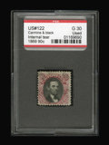 Stamps, #122, 1869, 90c Carmine & Black, G 30 PSE. (Used).... (Total: 1 Slab)