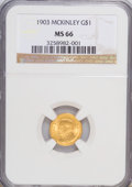 Commemorative Gold: , 1903 G$1 Louisiana Purchase/McKinley MS66 NGC. NGC Census:(323/91). PCGS Population (427/75). Mintage: 17,500. Numismedia ...