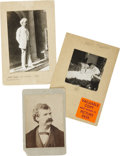"""Photography:Cabinet Photos, Mark Twain, Samuel L. Clemens, Three Photographic Images, includinga cabinet card of Twain, 4.25"""" x 6.5"""", (shaved and chipp... (Total:3 Items)"""