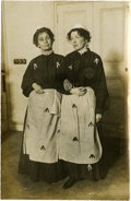 Political:Small Paper (1896-present), Woman's Suffrage: The Pankhursts in Prison Dress Real Photo Postcard....