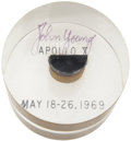 Explorers:Space Exploration, Apollo 10 Command Module Flown Heat Shield Plug in Lucite Directly from the Personal Collection of Mission Command Module Pilo...