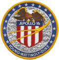 Explorers:Space Exploration, Apollo 16 Flown Embroidered Mission Insignia Patch Directly fromthe Personal Collection of Mission Commander John Young, Cert...