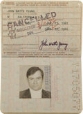 Explorers:Space Exploration, John Young's Official United States Passport, January 13, 1981 -January 12, 1986, Directly from his Personal Collection, Sign...