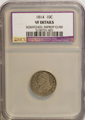 Bust Dimes: , 1814 10C Large Date--Improperly Cleaned, Scratched--NCS. VF20Details. NGC Census: (0/147). PCGS Population (2/112). Mintag...