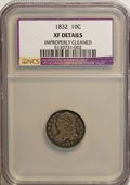 Bust Dimes: , 1832 10C --Improperly Cleaned--NCS. XF40 Details. NGC Census:(3/224). PCGS Population (15/219). Mintage: 522,500. Numismedi...