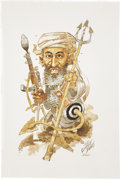 Paintings, JACK DAVIS (American b. 1926). Bin Laden, 2001. Mixed-media on paper. 22.5 x 15 in.. Signed lower right. ...