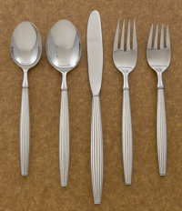 AN AMERICAN SILVER FLATWARE SERVICE Contempra House, circa 1970 Marks: CONTEMPRA HOUSE, STERLING HANDLE<