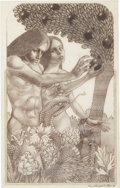 Mainstream Illustration, LEO AND DIANE DILLON (American b. 1933). Adam and Eve, Moses'Ark: Stories From the Bible illustration, 1989. Colored pe...
