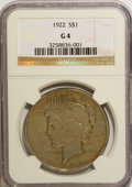 Peace Dollars: , 1922 $1 G4 NGC. NGC Census: (2/101684). PCGS Population (0/66582).Mintage: 51,737,000. Numismedia Wsl. Price for NGC/PCGS ...