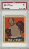 Boxing Cards:General, 1948 Leaf Jack Johnson #17 PSA EX 5. Nicely centered example fromthe Galveston Giant, whose pugilistic exploits during the...