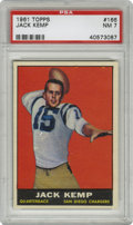 Football Cards:Singles (1960-1969), 1961 Topps Jack Kemp #166 PSA NM 7. Exceptional centering, rich color retention, and four sharp corners keep this early Jac...