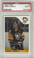 Hockey Cards:Singles (1970-Now), 1985-86 Topps Mario Lemieux #9 PSA Mint 9. Top-notch example of this highly desirable rookie from the 1985-86 Topps hickey i...