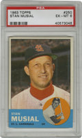 Baseball Cards:Singles (1960-1969), 1963 Topps Stan Musial #250 PSA EX-MT 6. Stan the Man's final regular Topps issue baseball card is made available here in i...