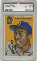 Baseball Cards:Singles (1950-1959), 1954 Topps Henry Aaron #128 PSA EX-MT 6. Exceptional example of oneof the keys to the 1954 Topps baseball issue, this #128...