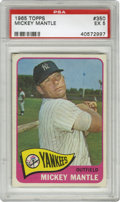 Baseball Cards:Singles (1960-1969), 1965 Topps Mickey Mantle #350 PSA EX 5. The mighty Mickey Mantle,seemingly adored by all, is favorably depicted for this q...