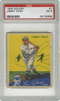 Baseball Cards:Singles (1930-1939), 1934 Goudey Jimmy Foxx #1 PSA EX 5. Whenever a top Hall of Famer appears as the number one card in a set, the odds of findi...