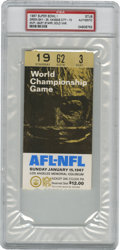 Football Collectibles:Tickets, 1967 Super Bowl I Ticket Stub, PSA Authentic. PSA-slabbed example of the ticket stub from the inaugural edition of the game...
